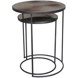image-Notre Monde Bronze Heavy Aged Mirror Round Nesting Side Table Set