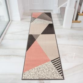 image-Pink Grey Modern Geometric Bedroom Rug - Milan