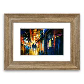 image-'City Night Lights' Framed Graphic Art East Urban Home Size: 70 cm H x 93 cm W, Frame Options: Teak