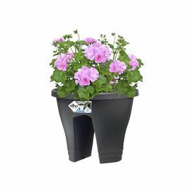 image-Corsica Plastic Balcony Planter (Set of 2) ELHO Colour: Anthracite, Size: 24cm H x 29.6cm W x 29.6cm D