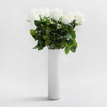 image-12pk Artificial Rose Cream Single Stem 75cm Cream