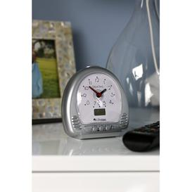 image-Analog Mechanical Battery-Operated Alarm Tabletop Clock in Silver Lifemax Limited