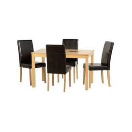 image-Bexford Wooden Dining Set And 4 Rustic Black G3 Chairs