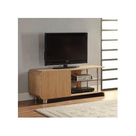 image-Flavius TV Stand In Ash Wood With 1 Door And Glass Shelf