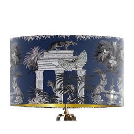 image-Classical Jungle Leopard 45cm Cotton Drum Table Lamp Shade