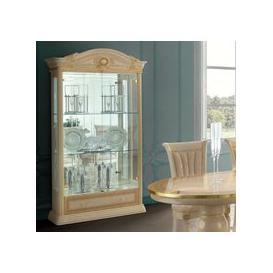 image-Camel Aida Day Ivory Italian 2 Door China Cabinet with LED Light