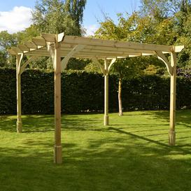 image-Randi Manufactured Wood Pergola Sol 72 Outdoor Finish: Light Green, Size: 270cm H x 360cm W x 360cm D