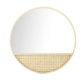 image-Round Bamboo and Wicker Mirror D51