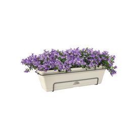 image-Plastic Balcony Planter ELHO Colour: Cotton White, Size: 16.7cm H x 47.3cm W x 25.7cm D