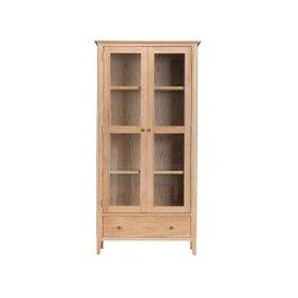 image-Appleby Oak 2 Door 1 Drawer Display Cabinet