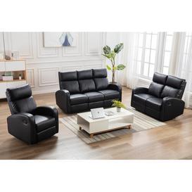 image-Monck 3 Piece Reclining Sofa Set Mercury Row Upholstery Colour: Black
