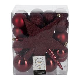 image-A by AMARA Christmas - Set of 33 Assorted Baubles and Tree Topper - Oxblood