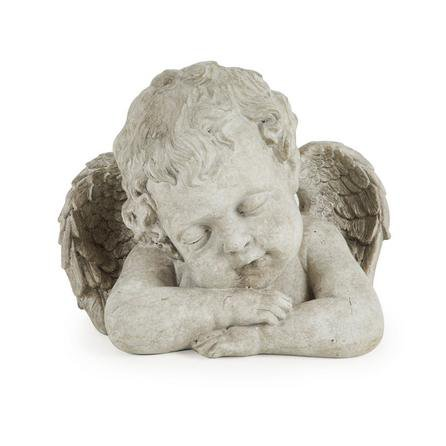 image-Resin Angel Cherub Ornament Cream