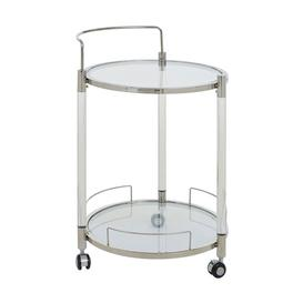image-Orizone Round Clear Glass Drinks Trolley With Silver Frame