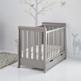 image-Stamford Mini Cot Bed with Mattress Obaby Colour: Grey