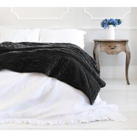 image-Slate Grey Velvet Cotton Quilted Bedspread - Black Velvet