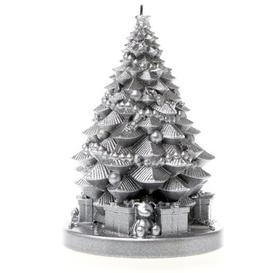 image-Xmas Tree with Gifts Unscented Novelty Candle Candellana Colour: Silver