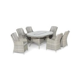 image-Hathaway Garden 6 Seat Oval Dining Set With Fire Pit, Light Grey Weave and Grey Fabric