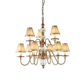image-Singita 9-Light Shaded Chandelier Astoria Grand Base Finish: Brass, Shade Colour/Pattern: Beige