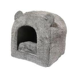 image-Grey Teddy Bear Cat Bed