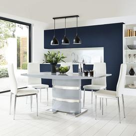 image-Komoro Grey High Gloss Dining Table with 6 Leon White Leather Chairs