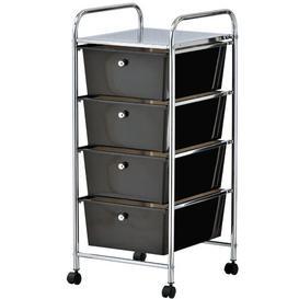 image-Cisneros 4 Drawer Storage Utility Cart Symple Stuff Colour: Black