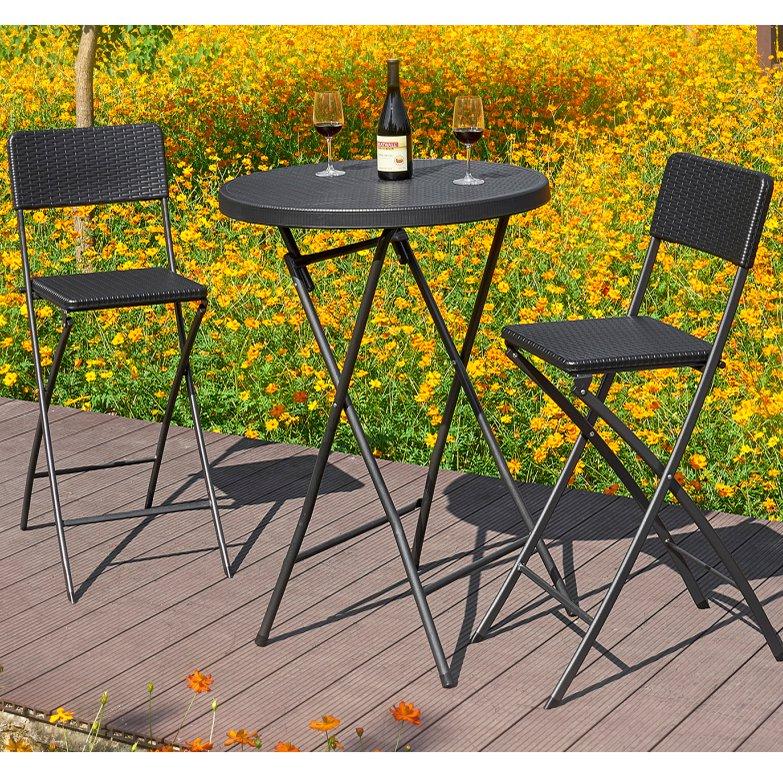 image-Royalcraft Metal and Rattan Garden Furniture Palermo 2 Seat Bar Set