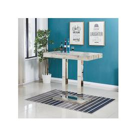image-Caprice Bar Table In Grey Oak Effect And Stainless Steel Support