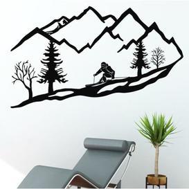image-Metal Skier Mountain Trees Wall Décor Union Rustic Size: 59cm H x 118cm W x 1cm D