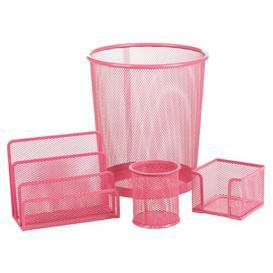 image-Bever 4 Piece Desk Organiser Set Rebrilliant Colour: Fuchsia