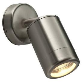 image-Odyssey Outdoor Single Wall Spotlight, Adjustable, Dimmable, IP44 Rated, Stainless Steel Finish.