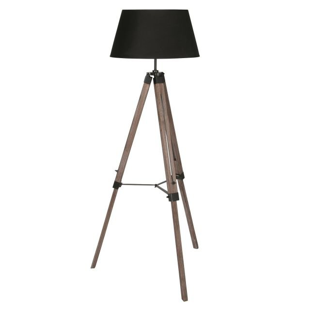 image-Wooden Tripod Floor Lamp With Shade