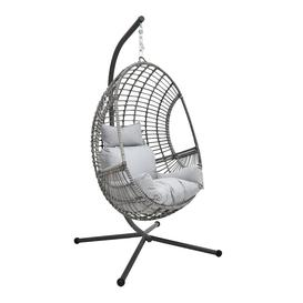 image-Rattan Effect Hanging Egg Chair - Grey