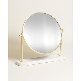 image-Round Marble & Gold Metal Dressing Table Mirror Large