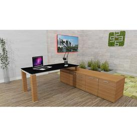 image-Annmarie L-Shape Executive Desk Ebern Designs Colour (Top/Frame): Black/Walnut, Size: 72cm H x 200cm W x 100cm D