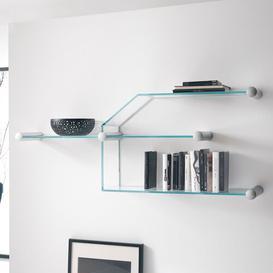 image-Comp Modular Wall Shelves Wade Logan Colour: Extra Clear, Size: 375cm W x 108cm D