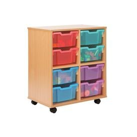 image-Allsorts 4 Cube Bookcase With 8 Deep Trays, Red/Blue/Yellow