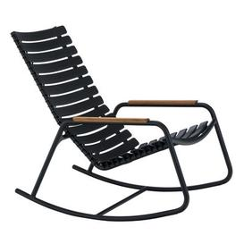 image-Clips Rocking chair - / Plastic & bamboo armrests by Houe Black,Natural wood