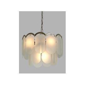 image-John Lewis & Partners Antique Brass and Vintage Glass Ceiling Light, 4 Light