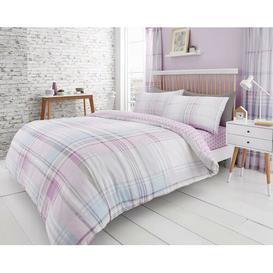 image-Check Reverse Duvet Cover Set Symple Stuff Size: Single - 1 Standard Pillowcase, Colour: Purple
