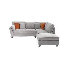 image-Barresi Chenille Fabric Right Hand Corner Sofa In Silver Finish