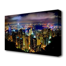 image-'Hong Kong Night Light' Photograph on Wrapped Canvas East Urban Home Size: 81.3 cm H x 121.9 cm W