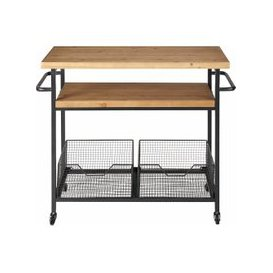 image-Metal and Wood Industrial Kitchen Trolley