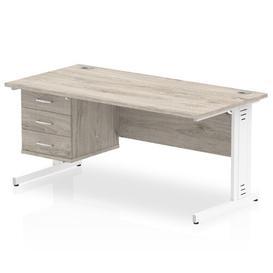 image-Zetta Executive Desk Ebern Designs Size: 73cm H x 160cm W x 80cm D, Frame Colour: White