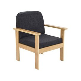 image-Nimes Wood Framed Reception Armchair, Blue, Free Delivered & Fully Installed Delivery