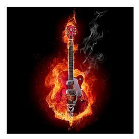 image-Guitar in Flames 1.92m x 192cm Children's Wallpaper East Urban Home