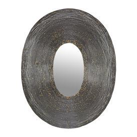 image-Global Explorer - Speckled Wire Framed Oval Mirror - Pewter & Gold