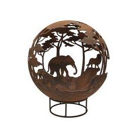 image-Garden Fire Ball 70cm Safari Design with Rust Finish