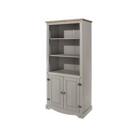 image-Corina Bookcase In Grey Washed Wax Finish With Two Doors