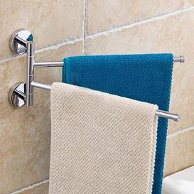 image-Swivel Towel Rail Chrome Stainless Steel Bath Rack Wall Mounted Towel Rack Holder With 2 Swivel Bars, Swing Towel Holder For Kitchen, Bathroom, Toilet